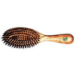 Haarbürste feste Wildschweinborste Oliveholz 9-reihig