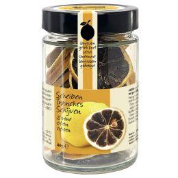 Getrocknete schwarze Zitronenscheiben Bio